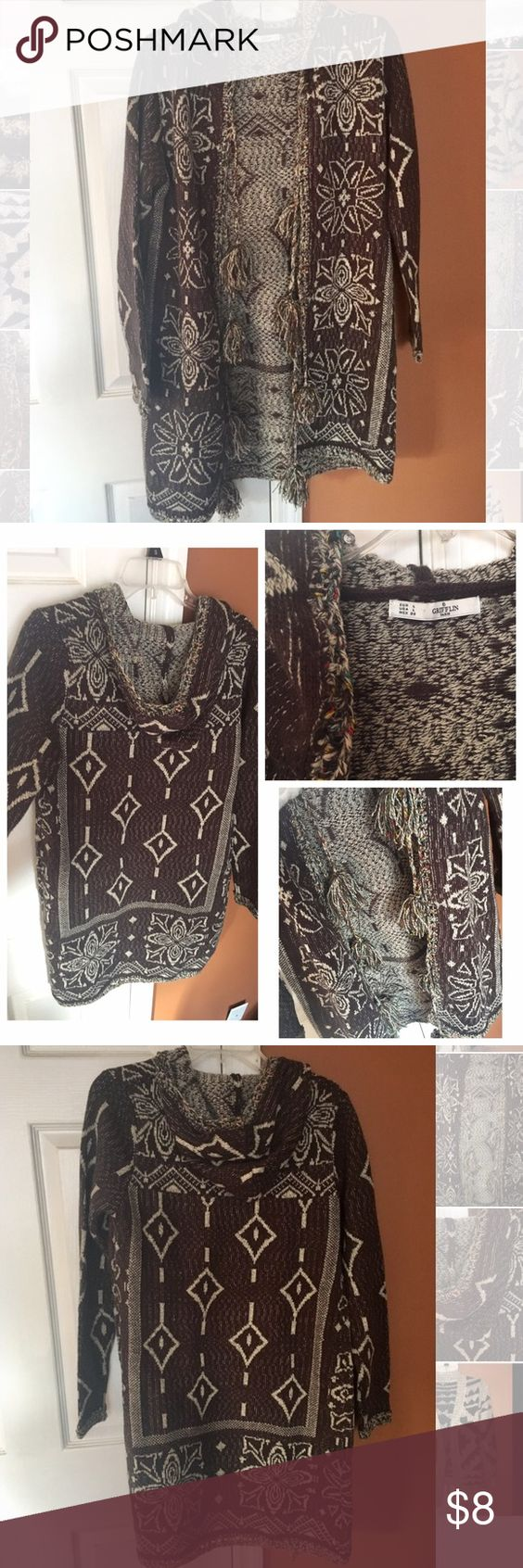 Brown multi-colored hooded cardigan- Large