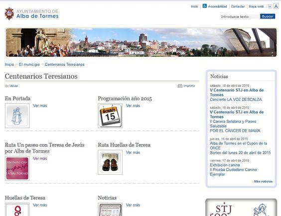 Sección de la página web del Ayuntamiento de Alba de Tormes dedicada a los Centenarios Teresianos.