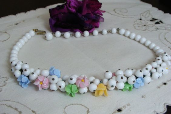 1940's Choker Style All White Glass Beads with by SaturdaysVintage