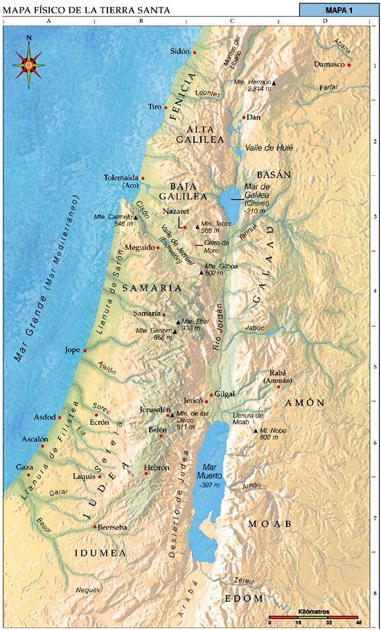 Mapas Bíblicos Mapa Físico De La Tierra Santa Bible Mapping Map Bible Timeline