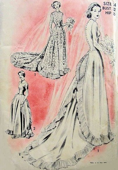 1940s Beautiful Bridal Formal Dress Wedding Gown Pattern BREATH TAKING Back Interest Long Flowing Victorian Train 2 Neckline Styles Advance 5176 Vintage Sewing Pattern Bust 32