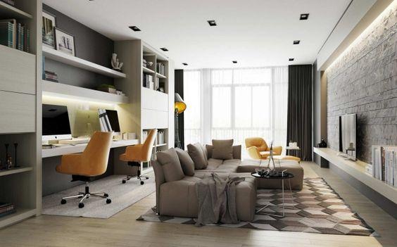 idee-decoration-salon-avec-bureau Bureaus, Salons and Living rooms