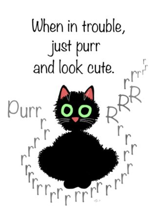 When in trouble, just purr and look cute. by Leenascats: