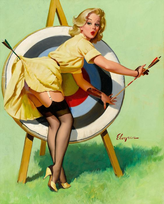 A Near Miss (Right on Target) - Gil Elvgren 1964