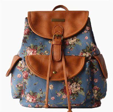 2014 Mode Vintage Ladies Filles Femmes Colorful imprimante Floral Vogue Lady Sac à dos de voyage sacs en toile Sac à bandoulière New