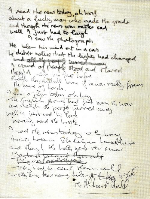 "John's handwritten lyrics for ""A Day In the Life"" from ""Recording the Beatles"""