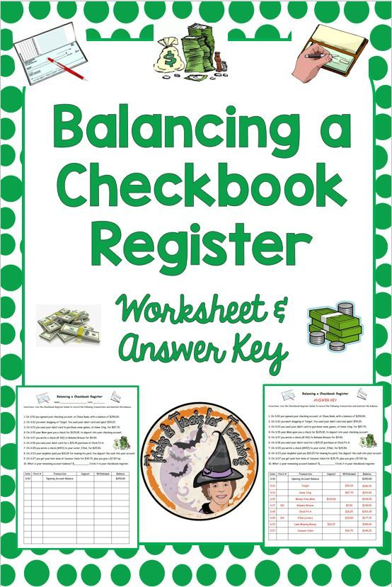 Balancing A Checkbook Register Worksheet Answer Key Financial Literacy Literacy Checkbook Register