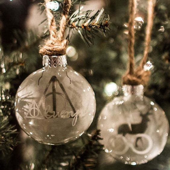 This etched glass ornament set is perfect for Harry Potter fans and will match any holiday decor. Each ornament is 2.5 inches across. One