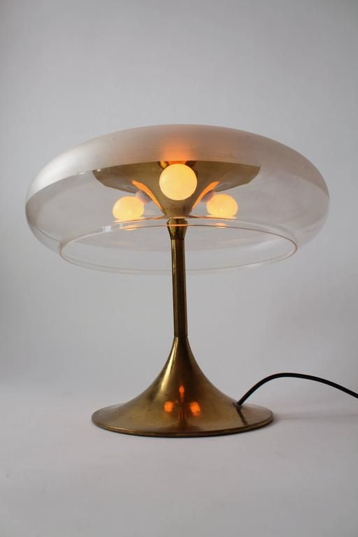 Reggiani Brass And Clear Acrylic Shade Table Lamp 1960s Italy In 2021 Table Lamp Lamp Brass Table Lamps