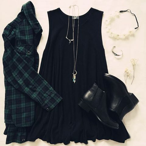 Tartan Shirt and Black Dress: