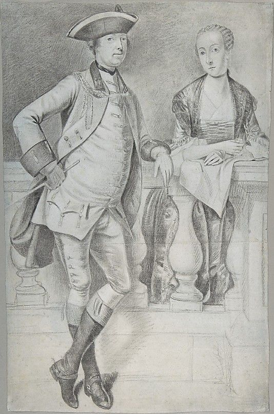 Study for a portrait of an officer and his wife, Arthur Devis, black and white chalk and black ink on blue paper, c. 1756-58. Metropolitan Museum of Art accession no. 2004.501: