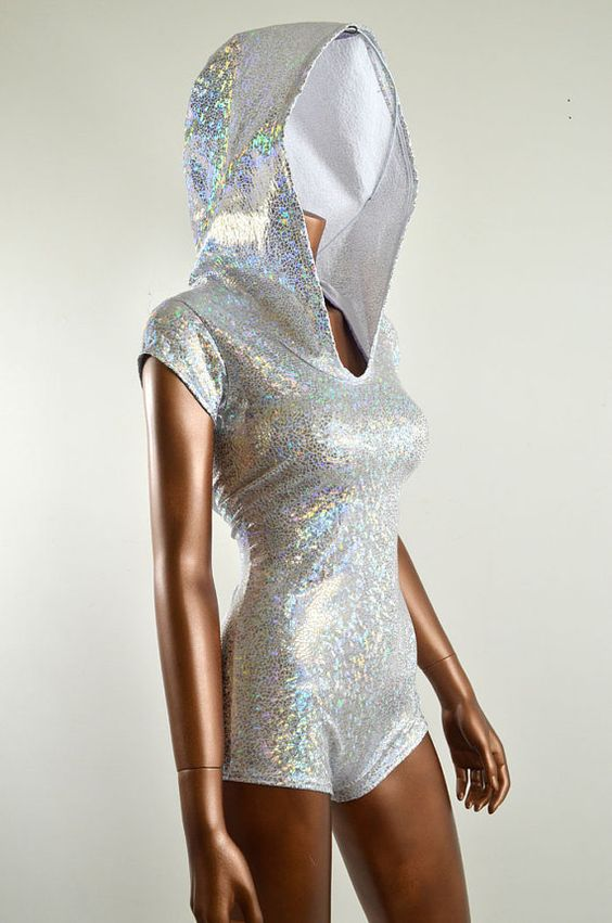 Sparkling Silver Holographic Bodysuit Romper by CoquetryClothing. Amazing.