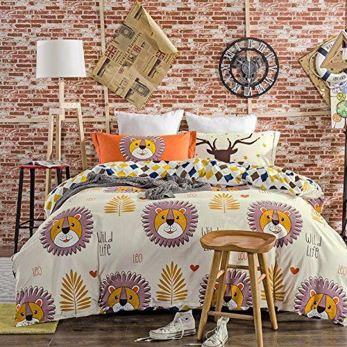 Cliab Wild Life Lion Bedding Set Queen For Boys Cartoon Bed Sheets 100 Brushed Cotton Duvet Cover Set 4 P Duvet Cover Sets Queen Bedding Sets Cheap Bed Sheets