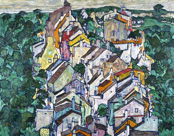Egon Schiele (Austrian, 1890-1918), Town among Greenery (The Old City III), 1917. Oil on panel. Neue Galerie, New York.viaufansius