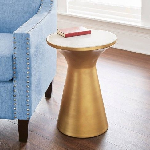 Jaipur Round End Table Brass Gold And Marble Steve Silver End
