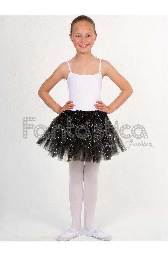 Tutú para Ballet y Danza - Falda de Tul para Niña y Mujer Color Negro con Brillantitos Strass - Tienda Esfantastica