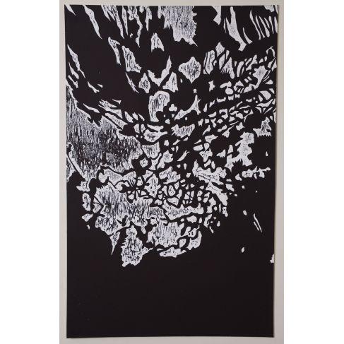 """Sophie Potié  """"Et après j'me souviens plus..."""" Wood Engraving hand printed on Velvet Sunset paper (280gr). 65 x 103 cm 2015 Original."""