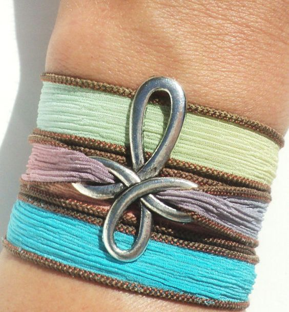 Hand Dyed Silk Wrap Bracelet Colorful by BohemianEarthDesigns, $24.95