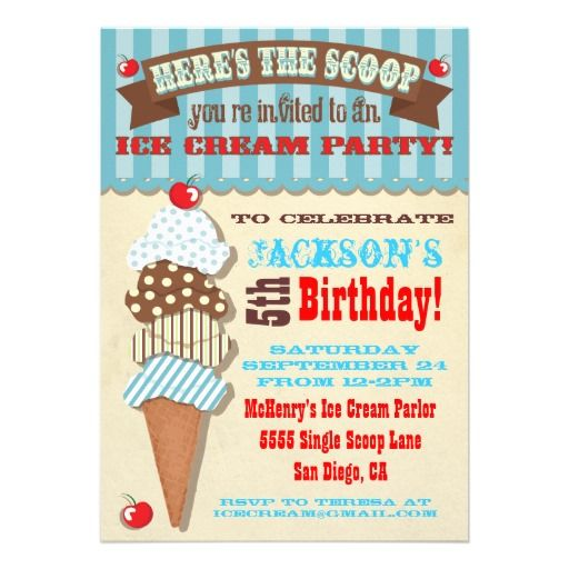 Ice Cream Party Invitation zazzle Averys birthday – Zazzle Party Invitations