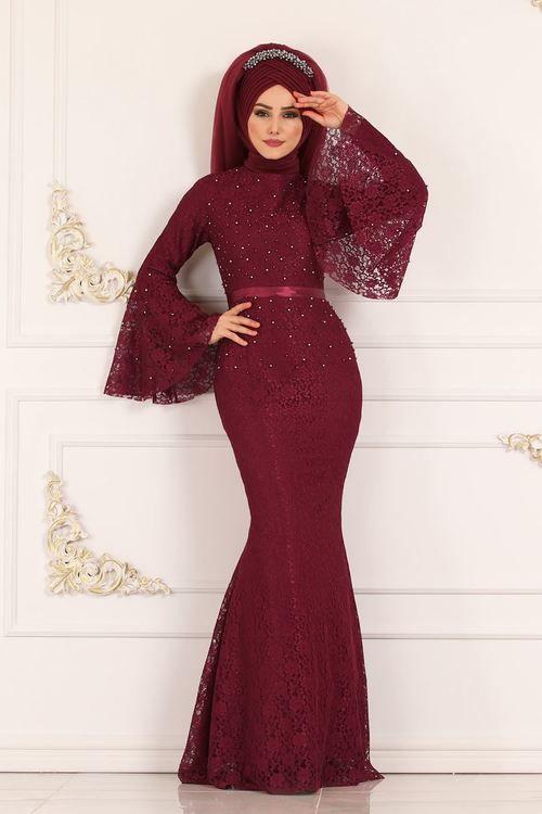 Modaselvim Abiye Volan Kol Balik Abiye 5120ay342 Bordo Dresses Fashion Mermaid Formal Dress