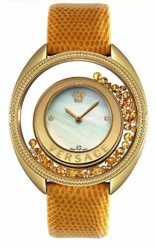 Versace Women's Destiny Spirit Floating Micro Spheres Yellow Leather Watch