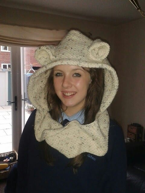 Crochet bear cowl