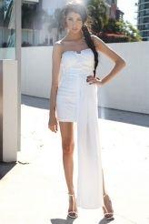 White Chiffon Hem Attached Strapless Vintage Dress Item No. : LC21688-1