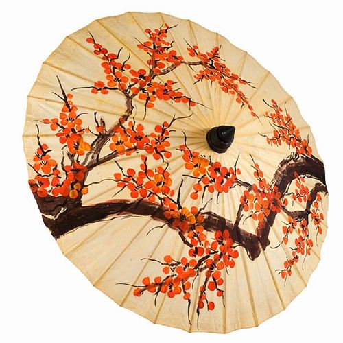 Painted Cherry Blossom Thai Paper Parasol