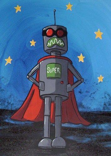 best pop art   Superhero Robot Pop Art Art Print - Super Robot by Mike Best