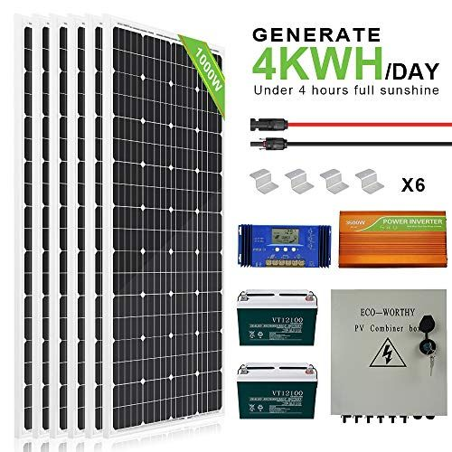 Eco Worthy 1kw Complete Solar Panel Kit With Battery And Inverter In 2020 Solar Panel Kits Solar Power Kits Solar Panels