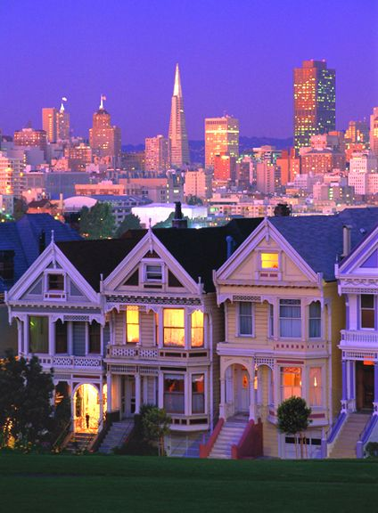 california san francisco painted ladies at alamo square and skyline travel california i. Black Bedroom Furniture Sets. Home Design Ideas
