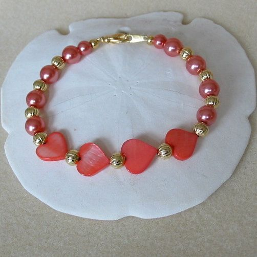 Pink Mother of Pearl Heart Bracelet by PattysDreamDesigns on Etsy, $10.00