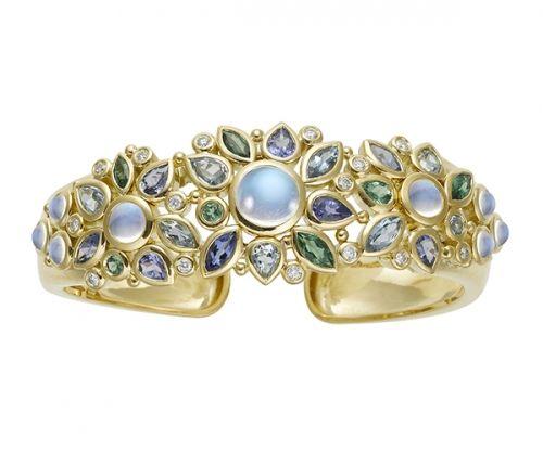 Temple St. Clair 18K Anima Cuff Bracelet with royal blue moonstone, aquamarine, tanzanite, tsavorite, and diamond