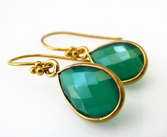 Small Green Onyx Drop Earrings Green Gemstone Tiny by ByGerene, $32.00
