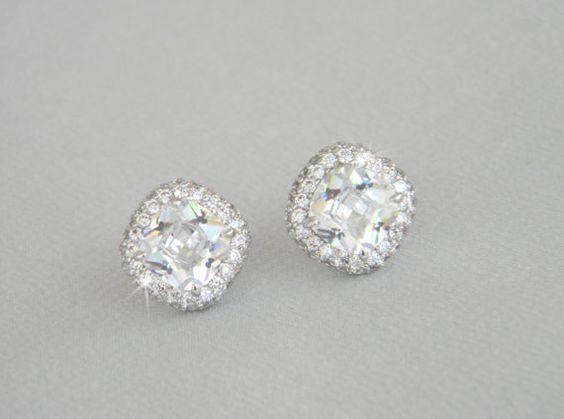 Cushion Cut Stud Bridal Earrings Halo Wedding by CrystalAvenues