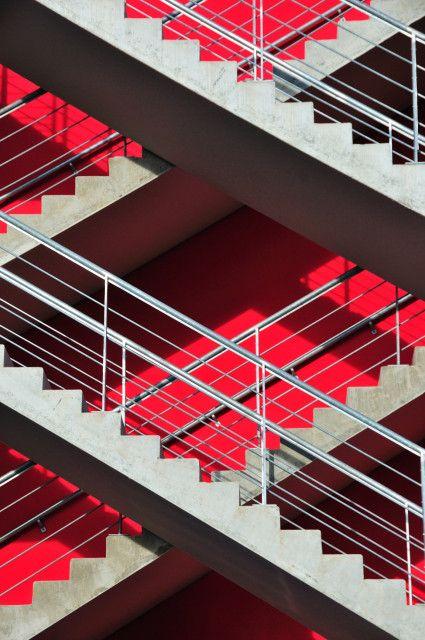 crimson + grey--plaid staircase