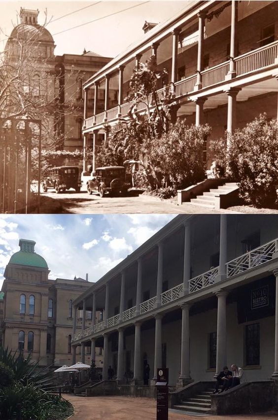 Courtyard of the Mint building on Macquarie Street, Sydney c1935 > 2016. [Sydney Living Museums > Phil Harvey