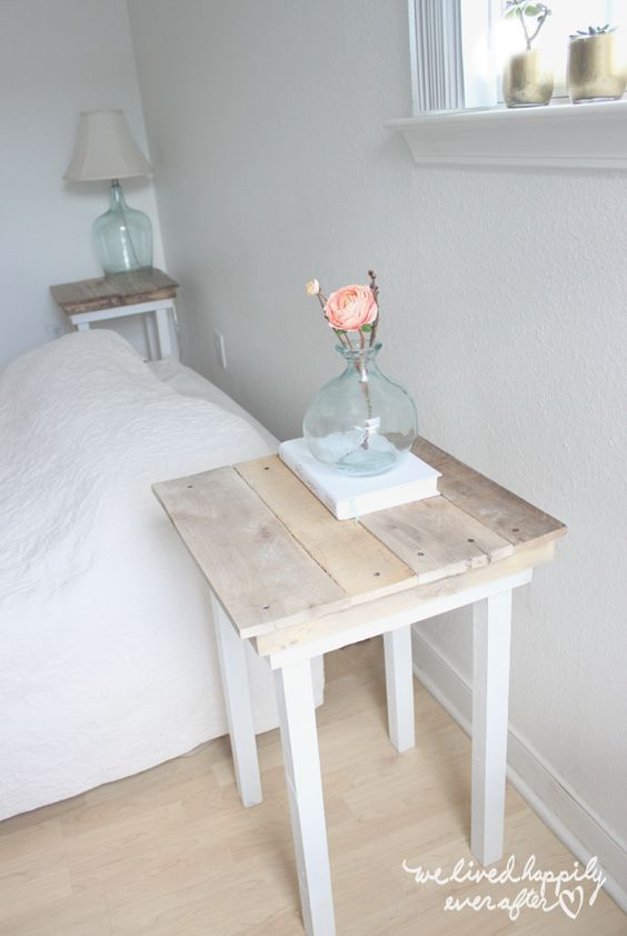 Diy pallet nightstands and pallets on pinterest for Easy table design