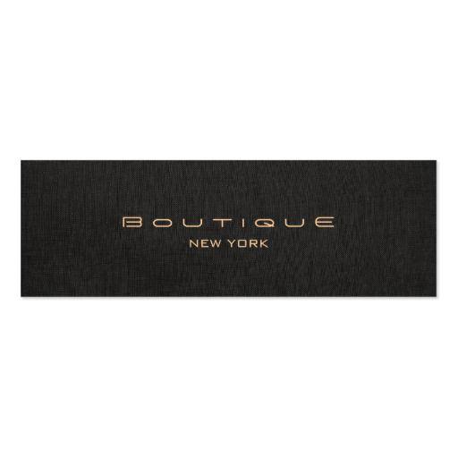 Chic Boutique Faux Black Linen Professional Mini Business Card