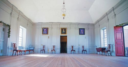 The Great Hall at Stratford Hall often thronged with lavish, days-long house-parties, where the planter gentry, living on their vast, isolated estates, gathered to politic, gossip, and court. In the mid-eighteenth century, it was filled with music, too.