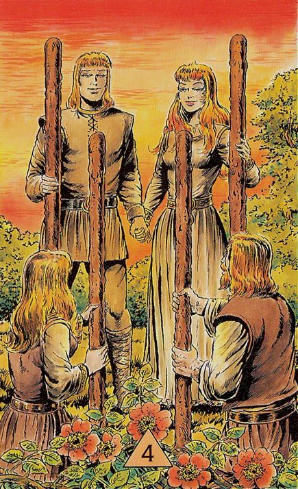 Four of Wands - Arcus Arcanum Tarot by Hansrudi Wascher