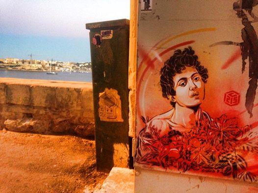 by C215 - Tribute to Caravaggio in Valeta, Malta - Oct 2014