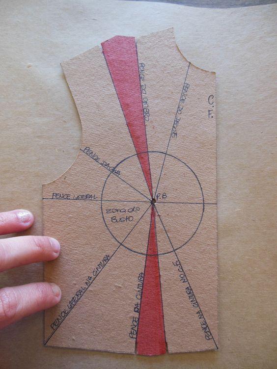 Transporte de pences: Estudo 1 – Preparando o molde - Industria Textil e do Vestuário - Textile Industry - Ano VII