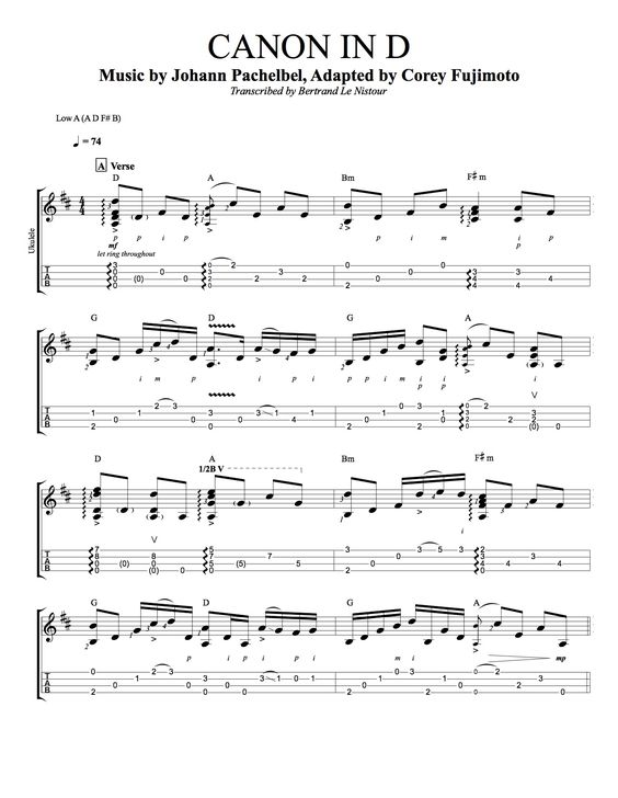 Uke - Pachelbel Cannon in D. Goes with video. Tuning A D F# B : Ukulele : Pinterest : Canon ...