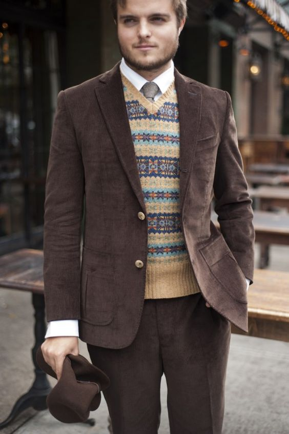 Brown felt hat by Borsalino Brown corduroy suit by Michael Andrews