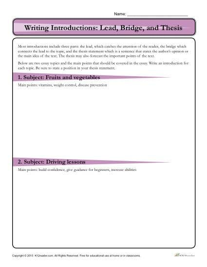thesis activity worksheet