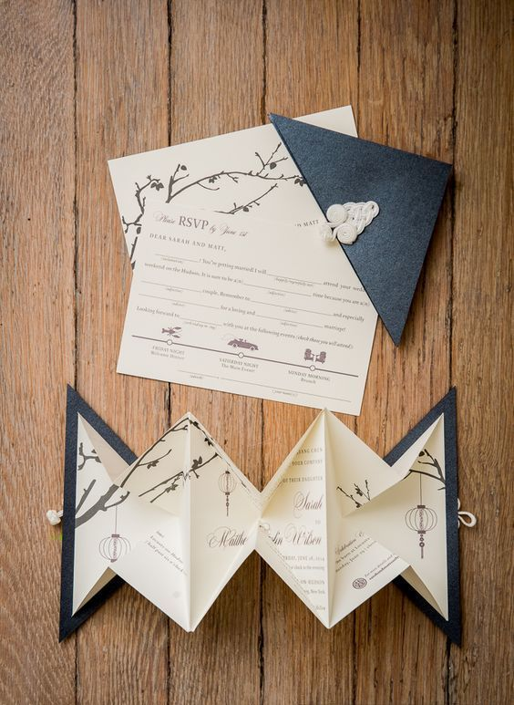 Origami Wedding Invitations With Cherry Blossom And Lanterns