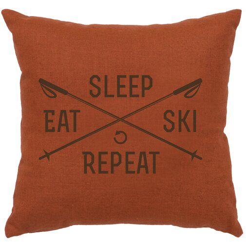 Skiing Pillowcase Eat Sleep Ski