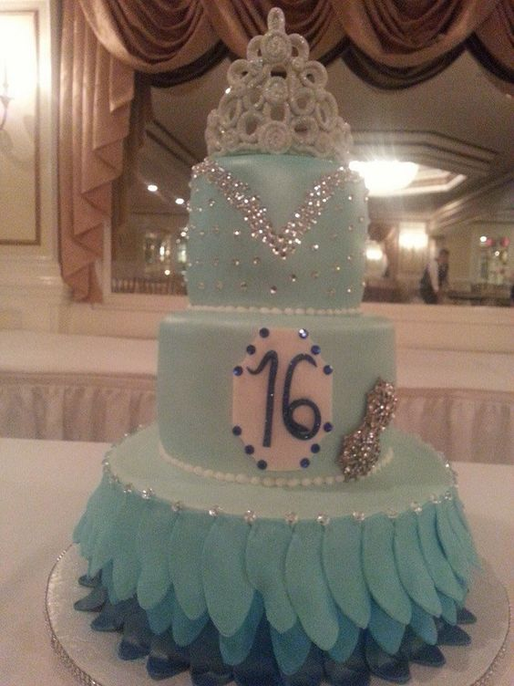 Aqua Blue Sweet 16 Cake My Cakes Pinterest Colors