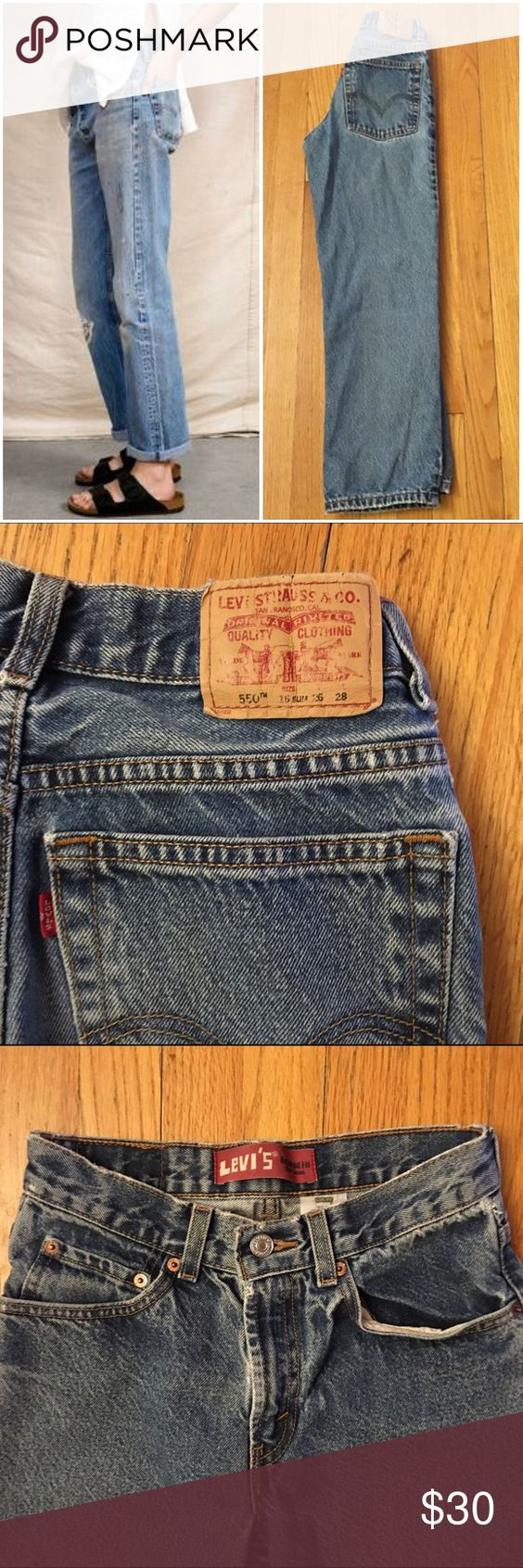 """Vintage Levi's Jeans Style #: 550 relaxed fit Size/Fit Marked: 16 slim (boys size) Size BEST FIT: 24/00 Apx. measurements when laying flat: 12"""" across waistband 10"""" front rise  26.5"""" inseam 18.5"""" across bottom of back pockets Condition: excellent vintage straight leg style 🎉Check out my closet for other vintage denim in a VARIETY of sizes. Left cover photo is style inspo, rest are mine! Price is firm so bundle for a discount!! Levi's Jeans"""